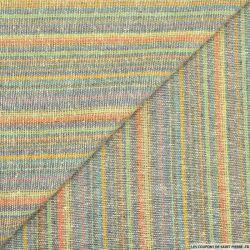 Bourrette de soie rustique fines rayures multicolore