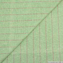 Bourrette de soie rustique rayures fond vert amande