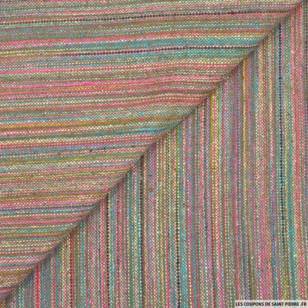Bourrette de soie rustique fines rayures multicolore et fuchsia