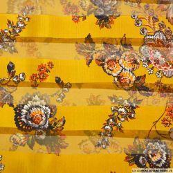 Mousseline de Soie rayée dévorée imprimée fleurs fond moutarde