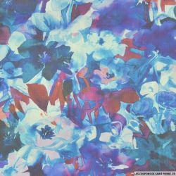 Organza de soie imprimé fleurs aquarelle bleu