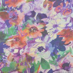 Organza de soie imprimé fleurs aquarelle violet