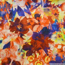 Toile de coton et soie imprimé fleurs aquarelle bleu et rouge