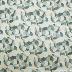 Jacquard de coton et soie abstrait retro vert