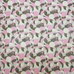 Jacquard de coton et soie abstrait retro rose