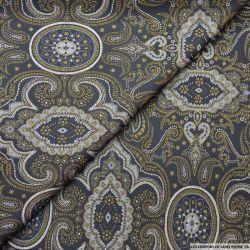 Jacquard polyester baroque fond noir