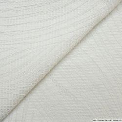 Jacquard polyester blanc fantaisie irisé argent