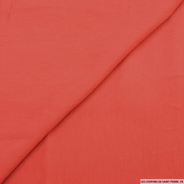 Mousseline de soie crinkle rouge
