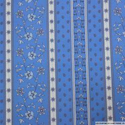 Coton imprimé provençal frise bleu pervenche
