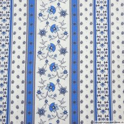 Coton imprimé provençal frise blanc fleurs bleu