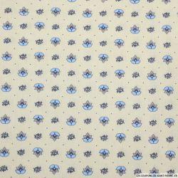 Coton imprimé provençal thym bleu fond sable
