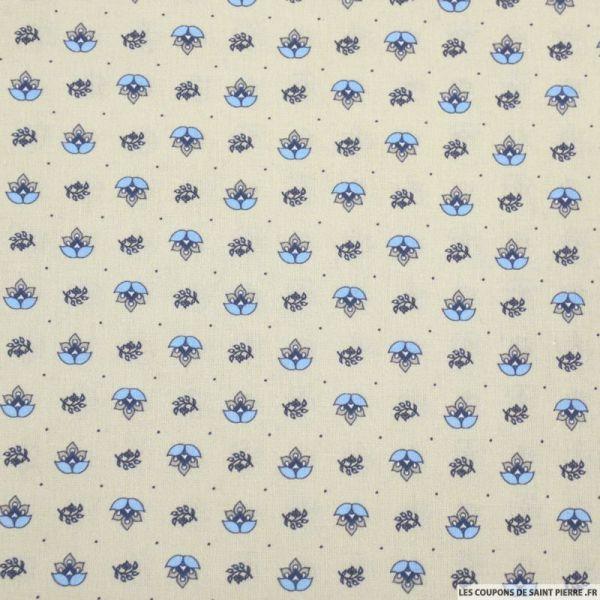 Coton imprimé provençal thym fond sable