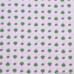 Coton imprimé provençal thym fond lavande