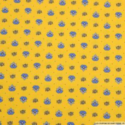 Coton imprimé provençal thym fond moutarde
