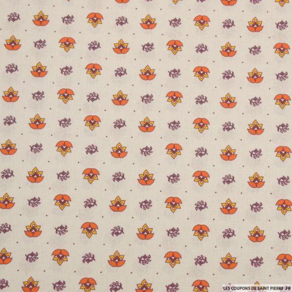 Coton imprimé provençal thym orange fond beige