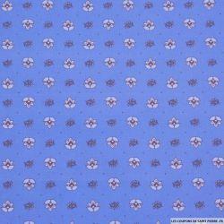 Coton imprimé provençal thym fond bleu pervenche