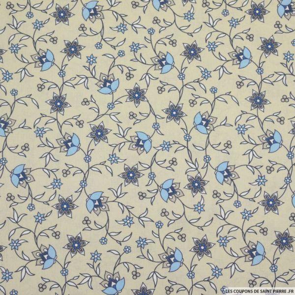 Coton imprimé provençal fleurs bleu fond sable