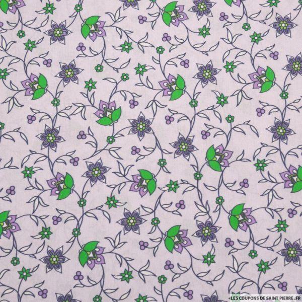 Coton imprimé provençal fleurs fond lavande