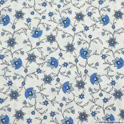 Coton imprimé provençal fleurs bleu fond blanc
