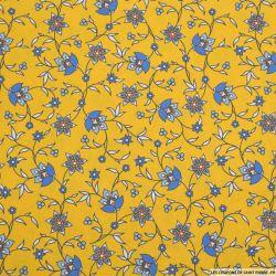 Coton imprimé provençal fleurs fond moutarde