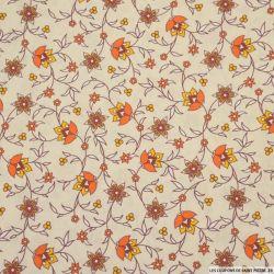 Coton imprimé provençal fleurs orange fond beige