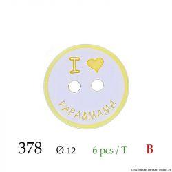 Tube 6 boutons papa & mama jaune Ø 12mm