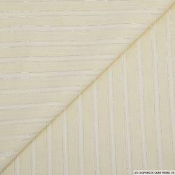 Voile de coton rayures lurex fantaisie vanille