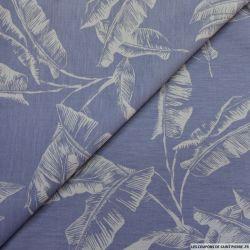 Jean's jacquard palmiers bleu clair