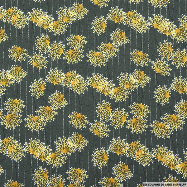 Crépon viscose gypsophile rayé lurex argent jaune fond kaki