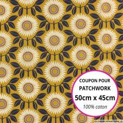 Coton liberty ® Walter moutarde - Coupon 50x45cm