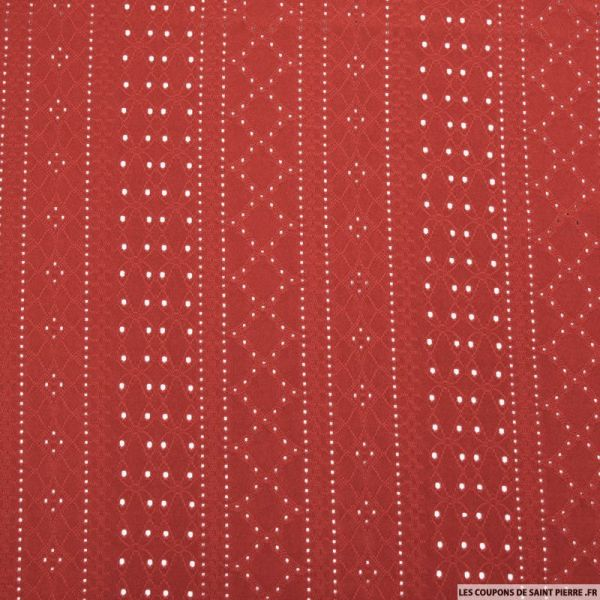 Jersey dentelle polyester rouge
