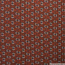 Crépon viscose éventail rayé lurex argent fond terracotta