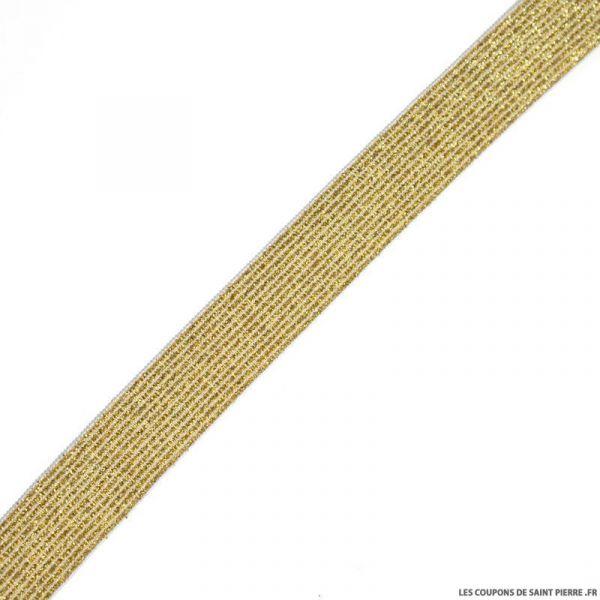 Elastique lurex blanc or - 20mm au mètre