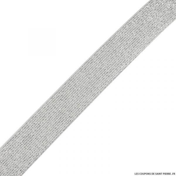 Elastique lurex blanc argent - 30mm au mètre