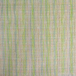 Tweed polyester rayé vert,bleu et rose