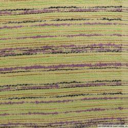 Tweed polycoton rayé violet et vert