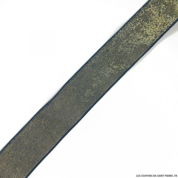 Elastique lurex bleu or - 40mm au mètre