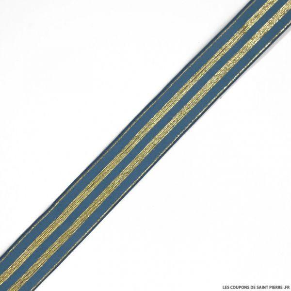 Elastique rayures lurex bleu or - 30mm au mètre