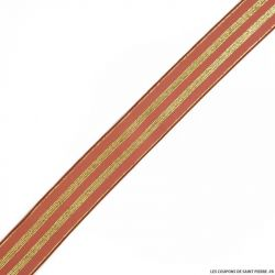 Elastique rayures lurex marsala or - 30mm au mètre