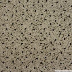Microfibre imprimé pois fond beige