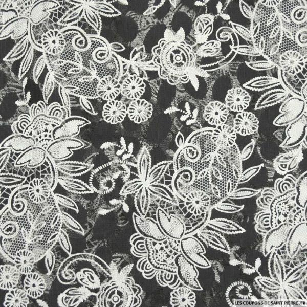 Tulle dentelle floquée floral fond noir