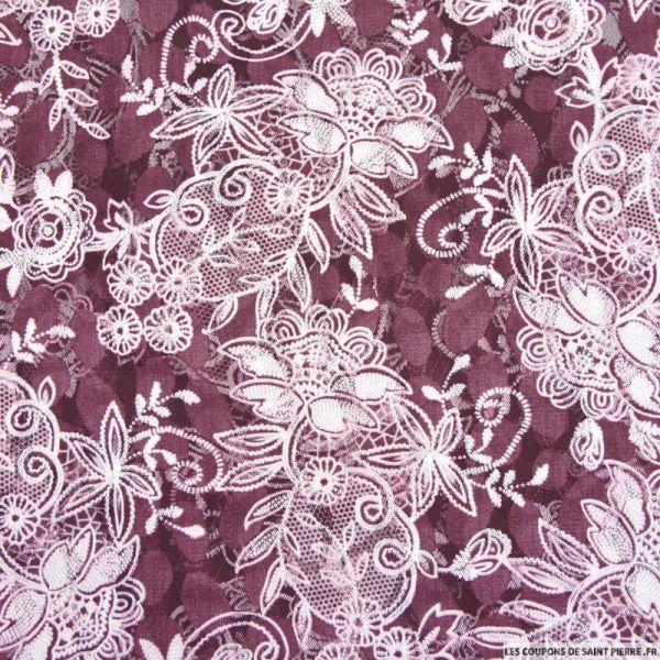 Tulle dentelle floquée floral fond aubergine