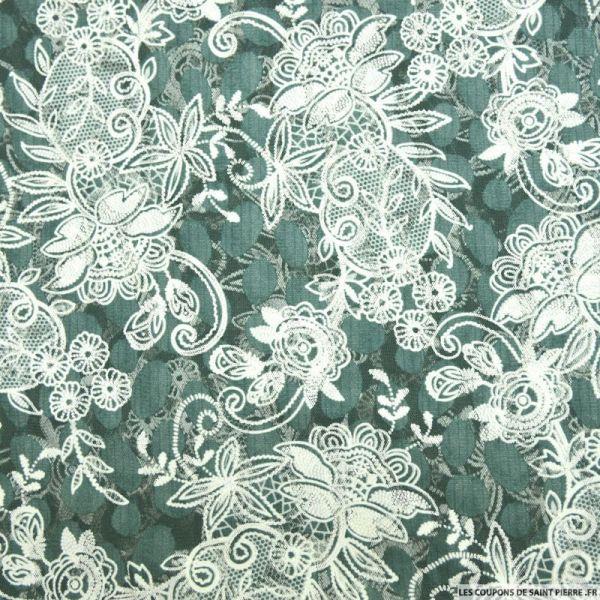 Tulle dentelle floquée floral fond vert