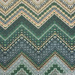 Maille fine imprimée aztèque vert fils irisé argent