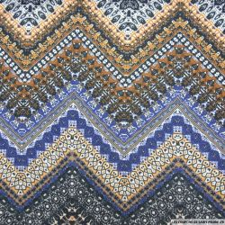 Maille fine imprimée aztèque bleu fil irisé argent