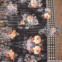 Maille Milano imprimé base floral retro fond noir