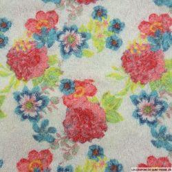 Maille polyester fleurs pop fond écru à poil long