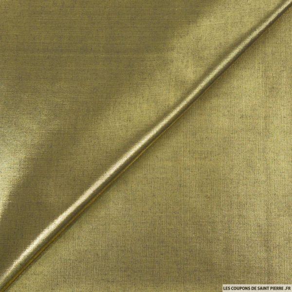 Tissu polyester lamé or foncé