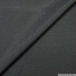 Jacquard polyester et soie noir fines rayures irisé