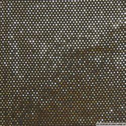 Jersey polyester pailleté pois or fond noir